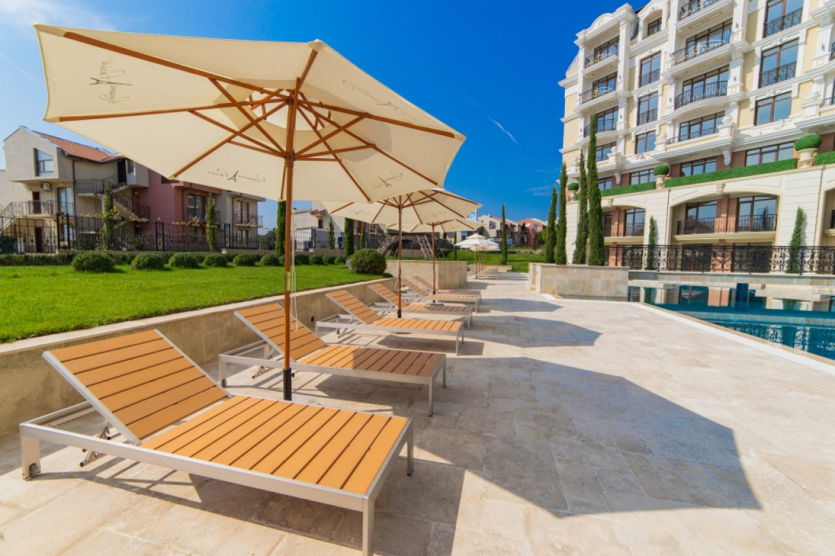 Recreation area by the pool of the Romance Paris complex in Saint Vlas Bulgaria
